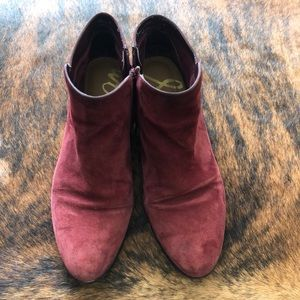 Wine Suede Sam Edelman Booties